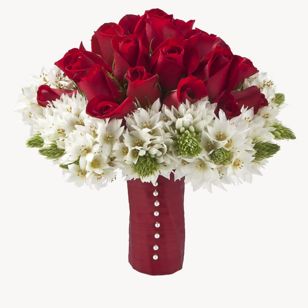 Red Roses And Star Of Bethlehem Bridal Bouquet Affordable Wedding
