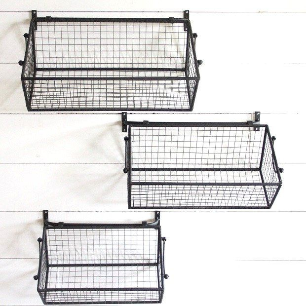Wire Wall Baskets Set Of 3 Baskets On Wall Wire Wall Basket