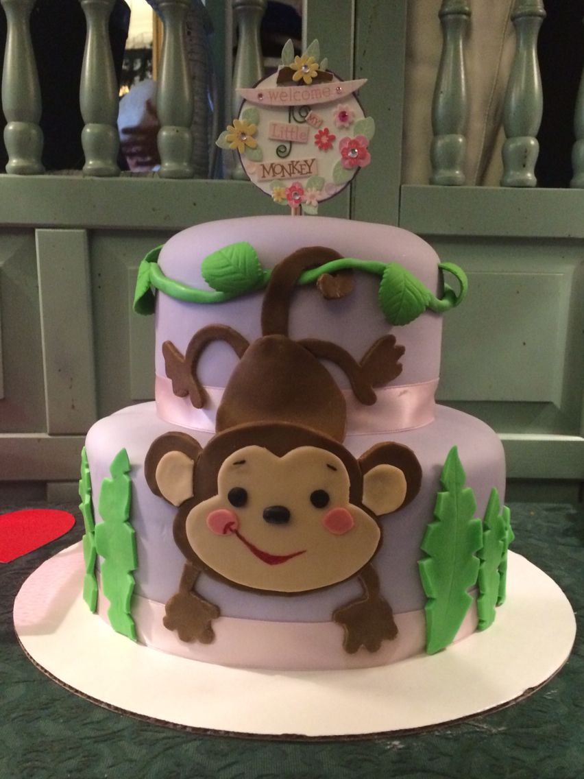 Monkey Baby Shower Tiered Cake For Baby Girl Fondant Monkey