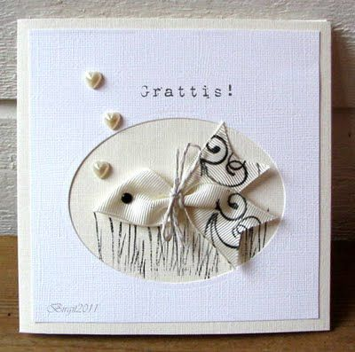 handmade card ... fish created from grosgrain ribbon ... knotted & stamped ... brad for an eye ... pearls for bubbles ... super-creative!