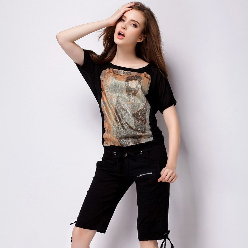 Uwback Summer Shorts Women 2017 New Brand Plus Size Midi Shorts Mujer Khaki/Black Cotton Drawstring Woman Casual Shorts TB1392