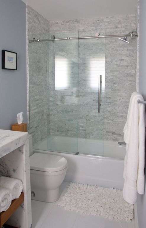 Contemporary Full Bathroom With Ann Sacks White Thos Square Field Stone Slab Showerbath Complex Marble Counters