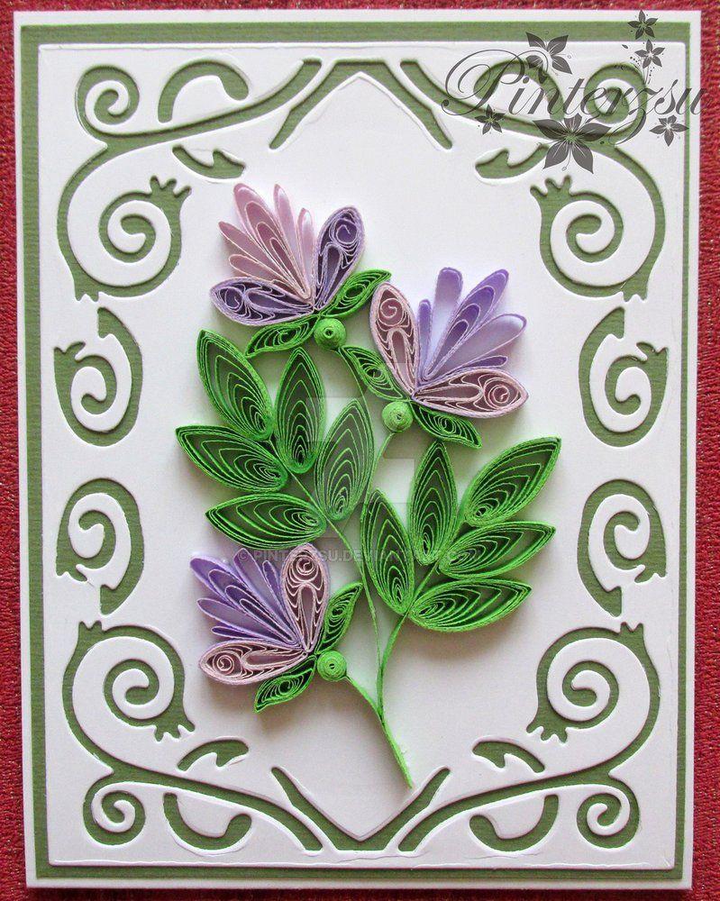Надписью, открытки из бумаги лилиями