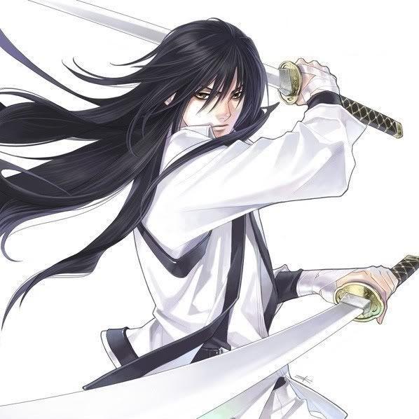 Fighting Pose Double Swords Anime Guy Long Hair Anime Warrior Samurai Anime