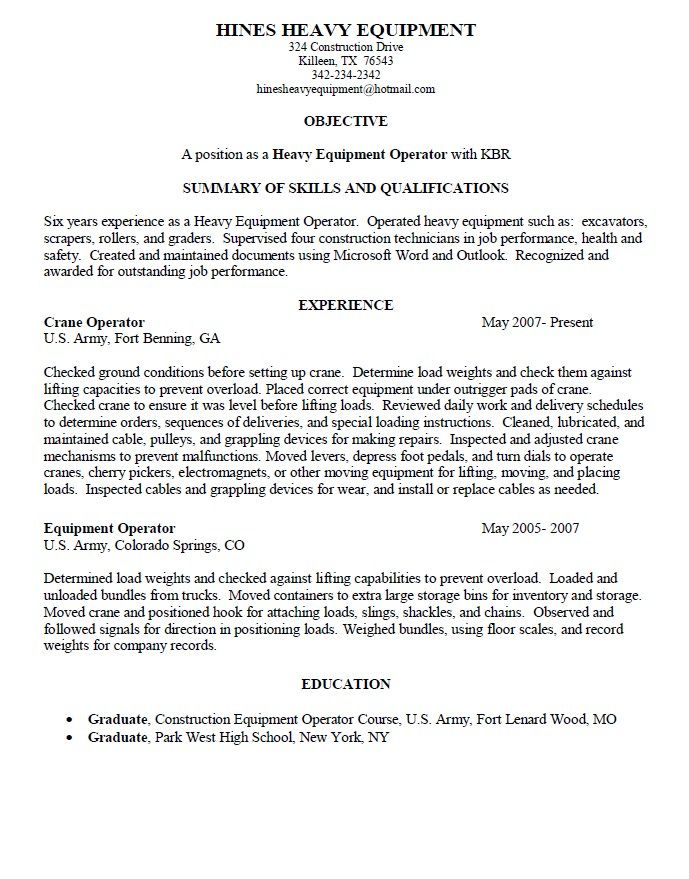 operator job description heavy equipment resume sample templates - heavy operator sample resume