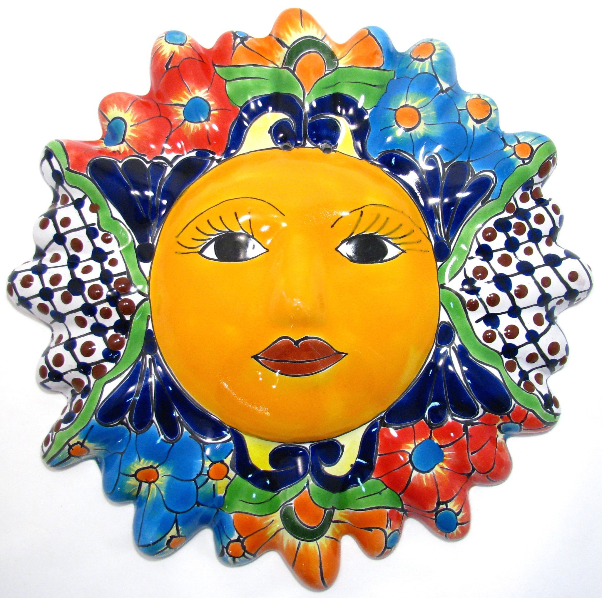Mexican wall hanging talavera pottery sun face 12\