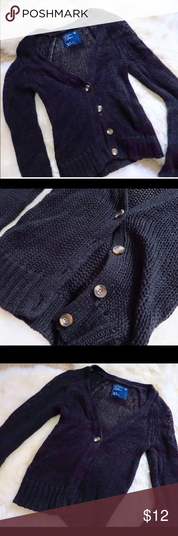 AEO Loose knit black cardigan xs American Eagle | Solid black, Aeo ...