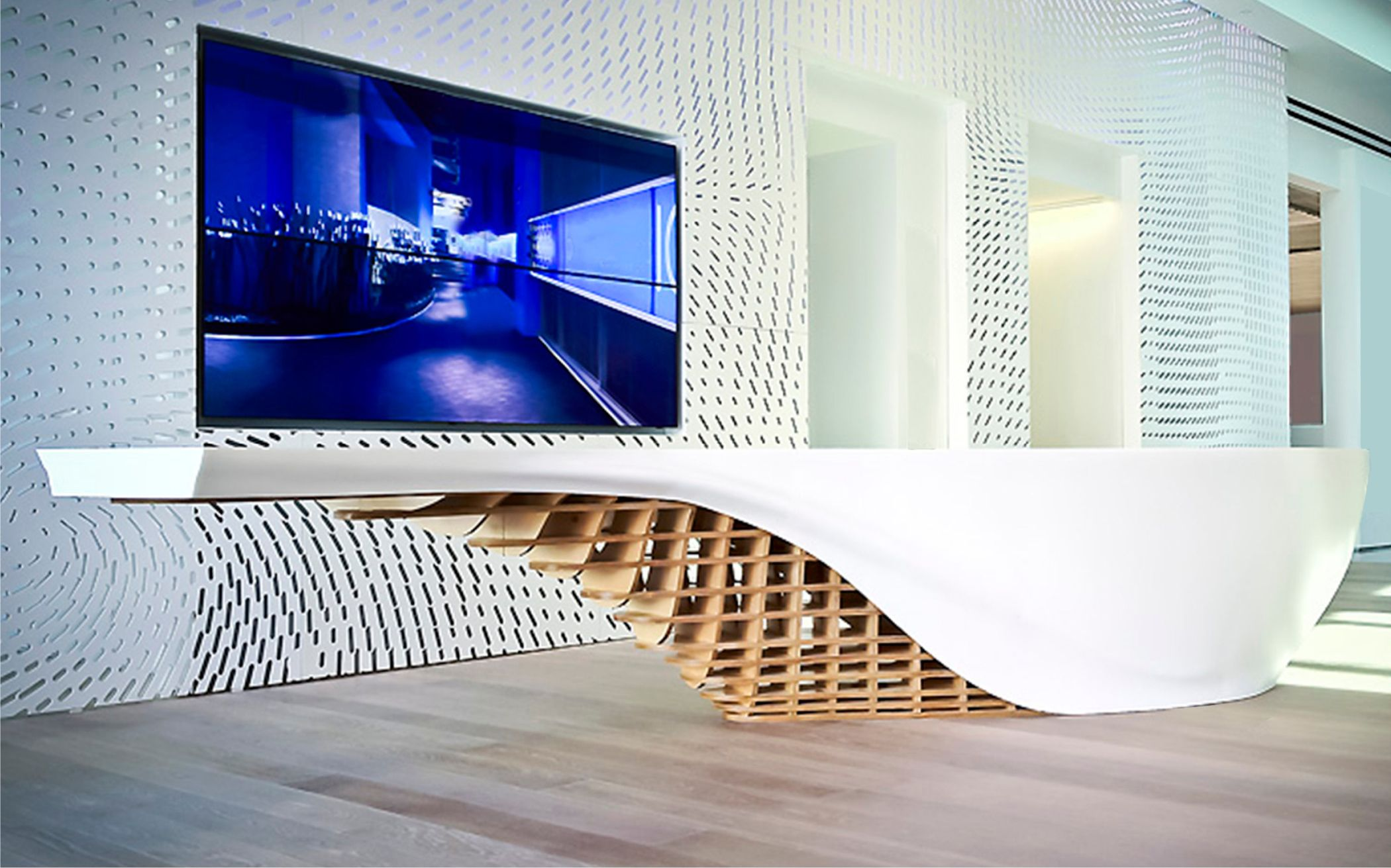 thermoformed reception desk for gensler los angelas