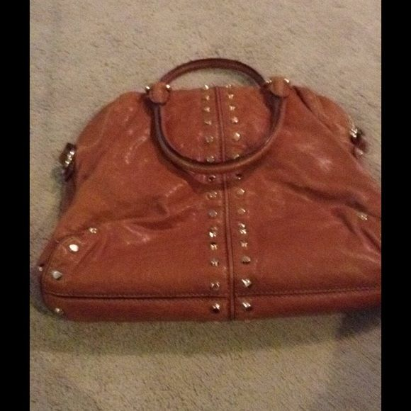 Vintage Michael Kors Darn Brown Leather Purse Studded Clean Does Not Have Long Strap Or The Mk Hang Tag Friend Gave Me To