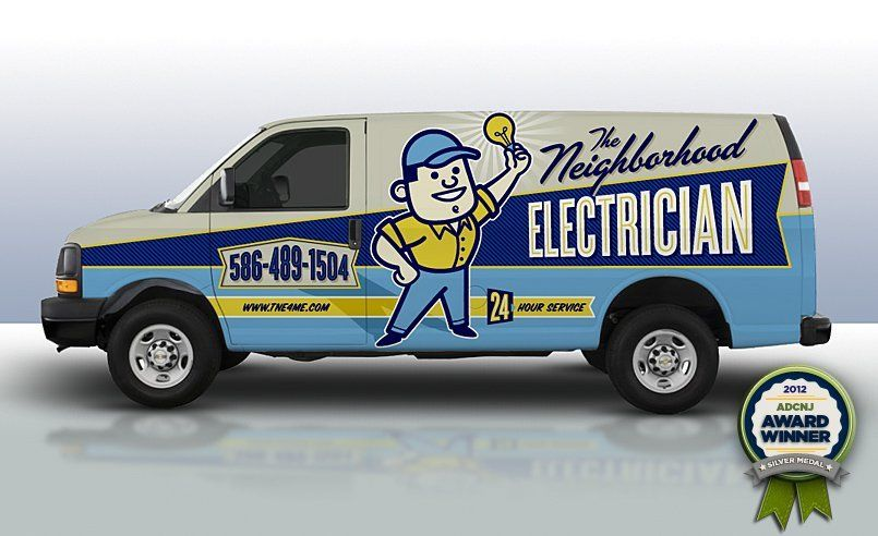 fd77311bbb Award winning Retro themed branding and truck wrap design for electrician  in Michigan.