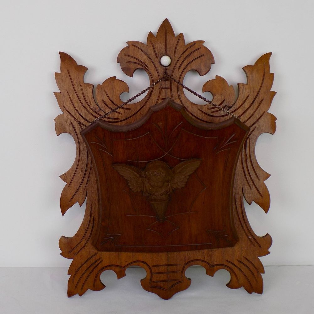Antique Carved Wood Victorian Wall Mount Hanging Mail Letter Holder Cherub  Angleu2026