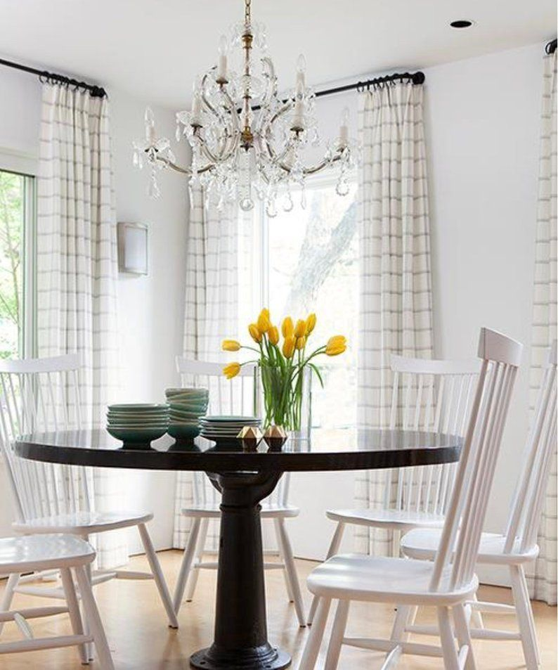 Modern Farmhouse Curtains Check Linen Country Farmhouse Etsy Black And White Dining Room White Dining Room Dining Room Curtains