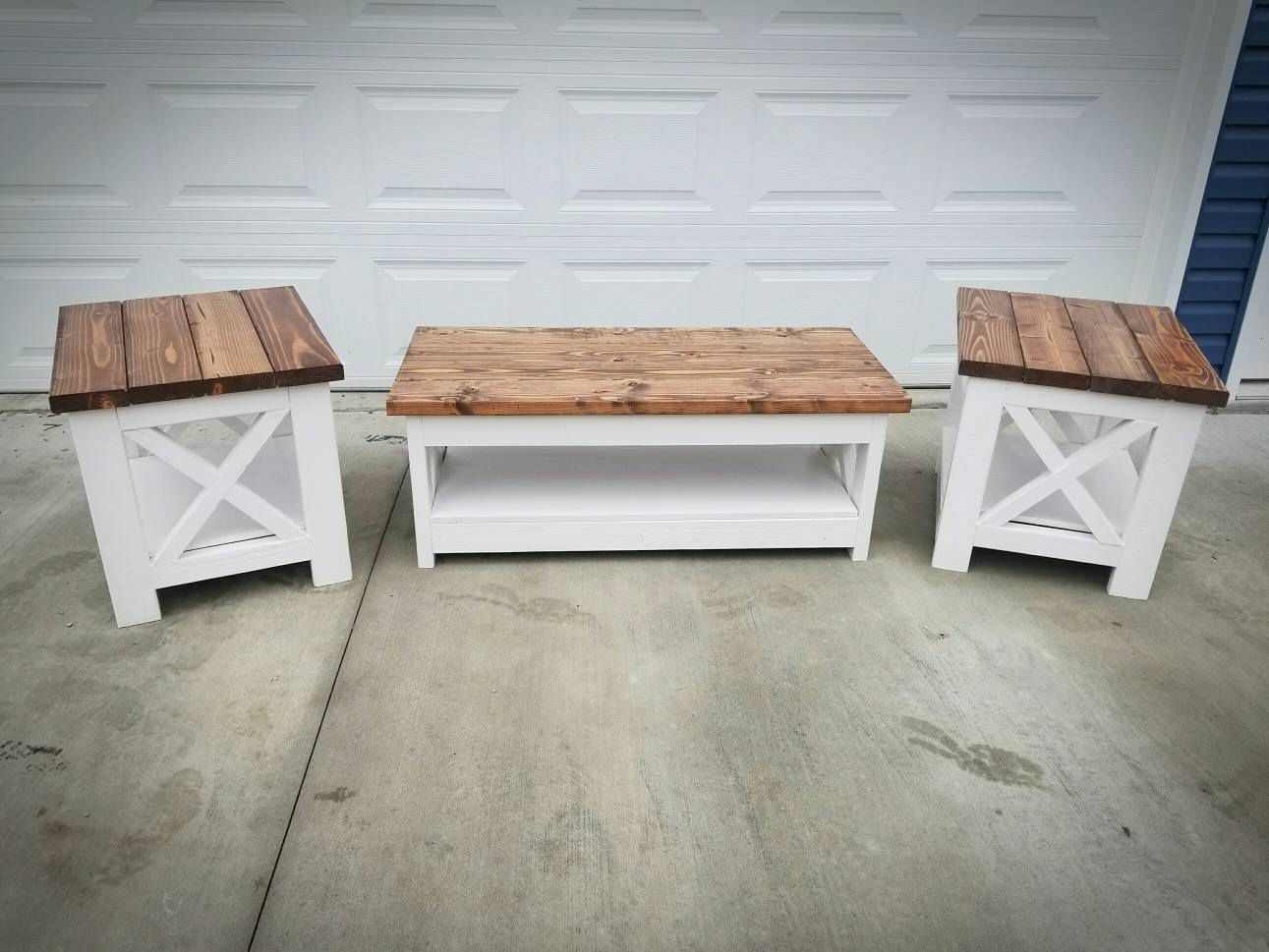 Farm house rustic x style coffee table and end table low