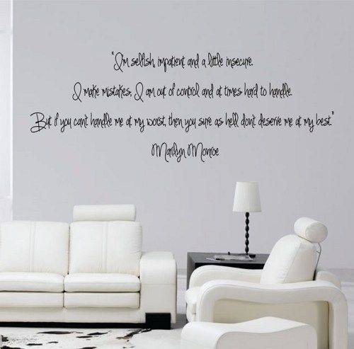 Iu0027m Selfish Impatient And A Little Insecure Marilyn Monroe Quote Wall Decal  Sticker Teen