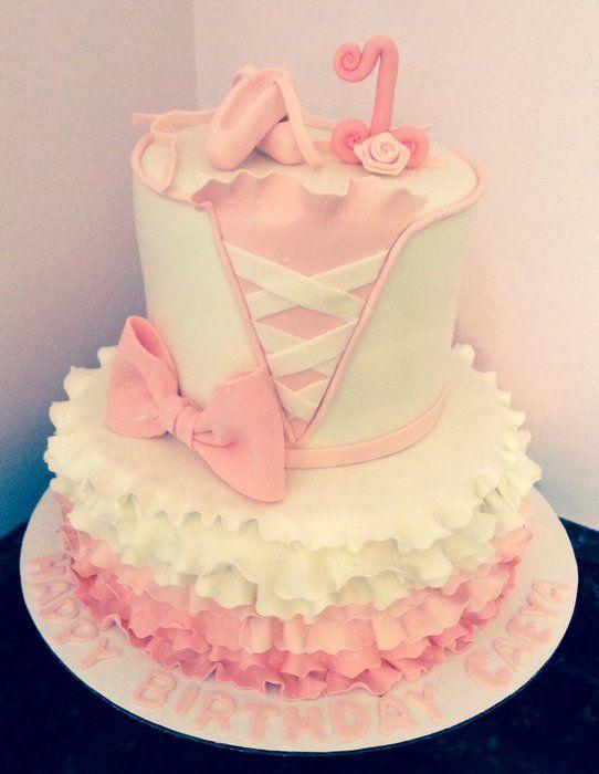 Ballet 1st birthday by chrissa 39 s cakes for Ballerina cake decoration