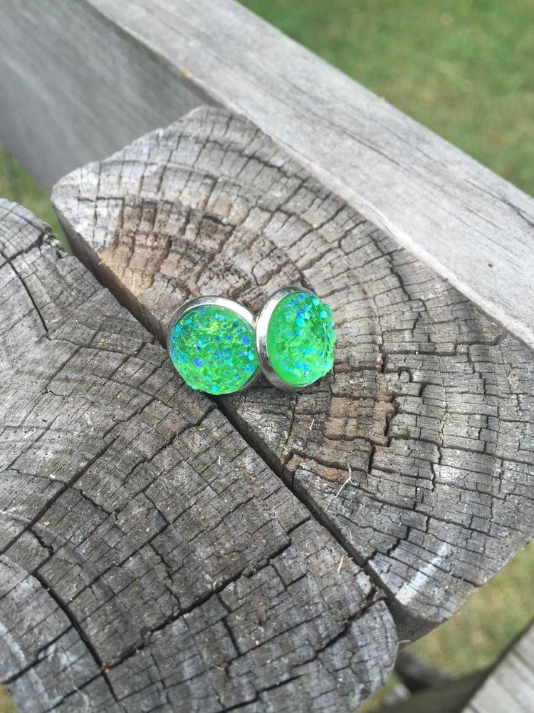 Image of Green Druzy studs