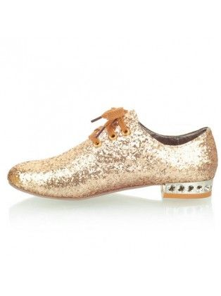 Nonslip Design Gold Lace Up Flats