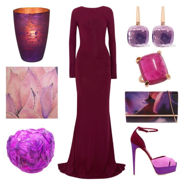 """Dark red to Cannes"" by tisleynel on Polyvore featuring mode, Donna Karan, Brian Atwood, Pomellato, Ted Baker, Daum, Cultural Intrigue et Ren-Wil"