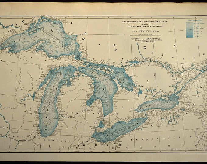 Great Lakes Map LARGE Blue Lake Michigan Huron Erie Superior A R T