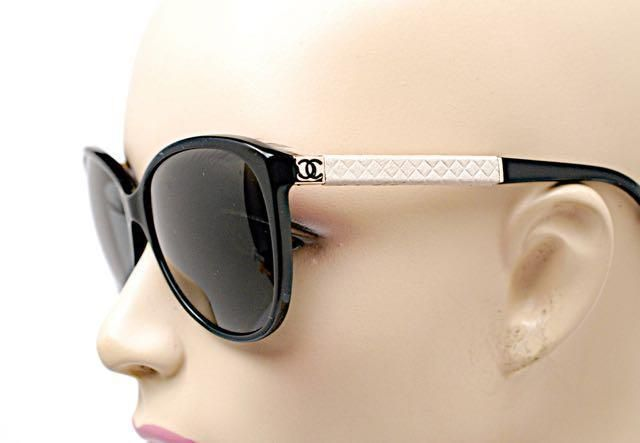 CHANEL 5225-Q Black SUNGLASSES CC Logo Putty Quilted Leather ... : quilted chanel sunglasses - Adamdwight.com