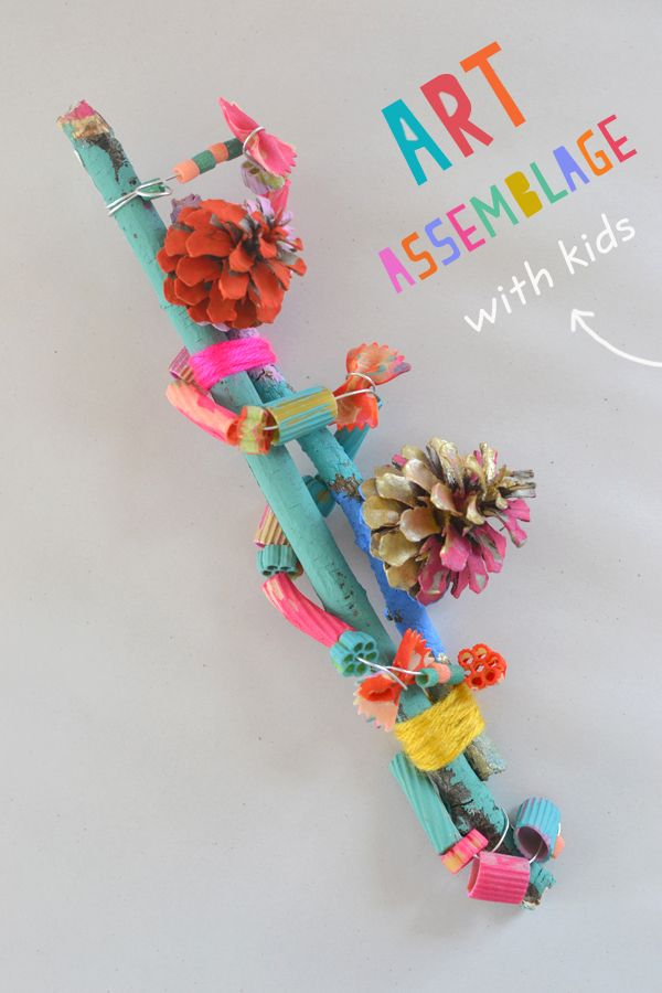 Art assemblage with kids pinecones pasta art bar for Craft bits and pieces