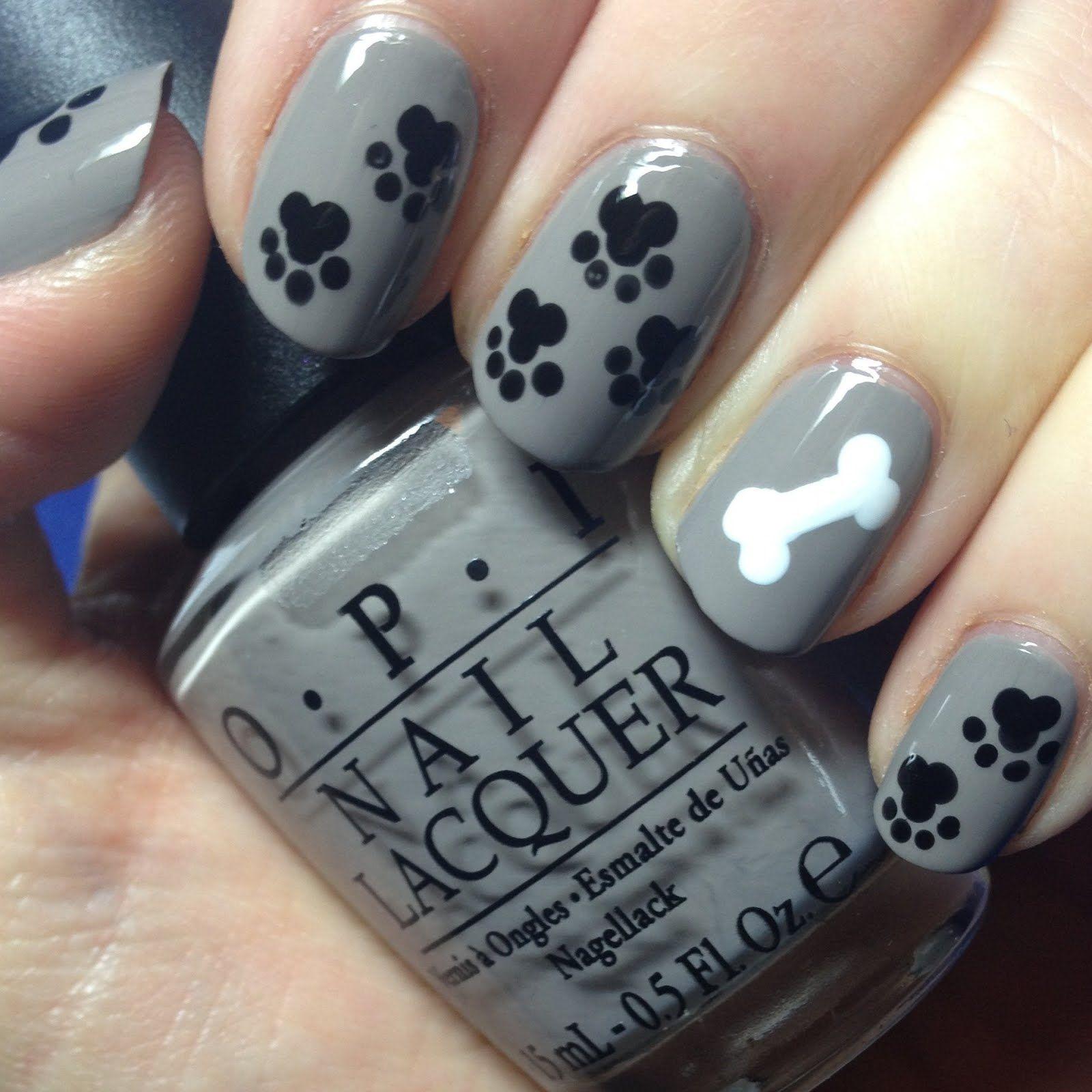 paw print & dog bone nail art and i don\'t even like finger nail ...