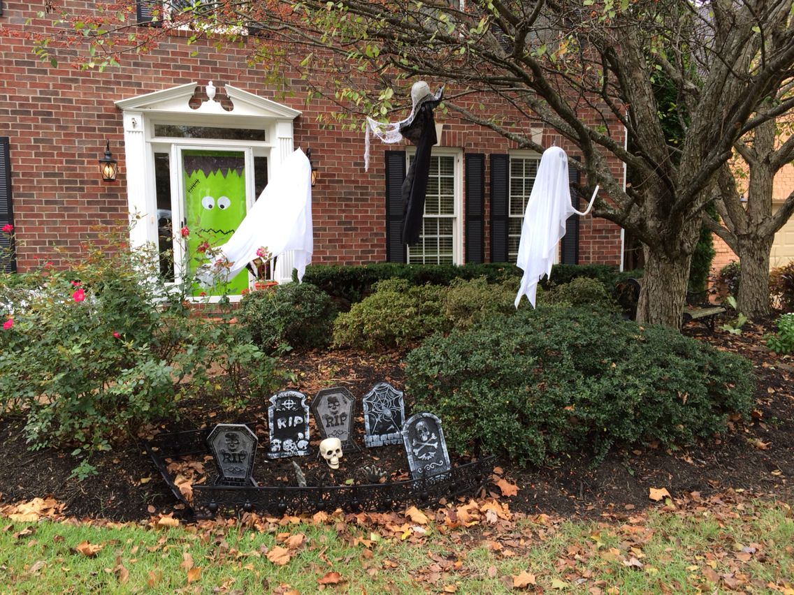 Graveyard from Dollar Tree and tree decor from Party City