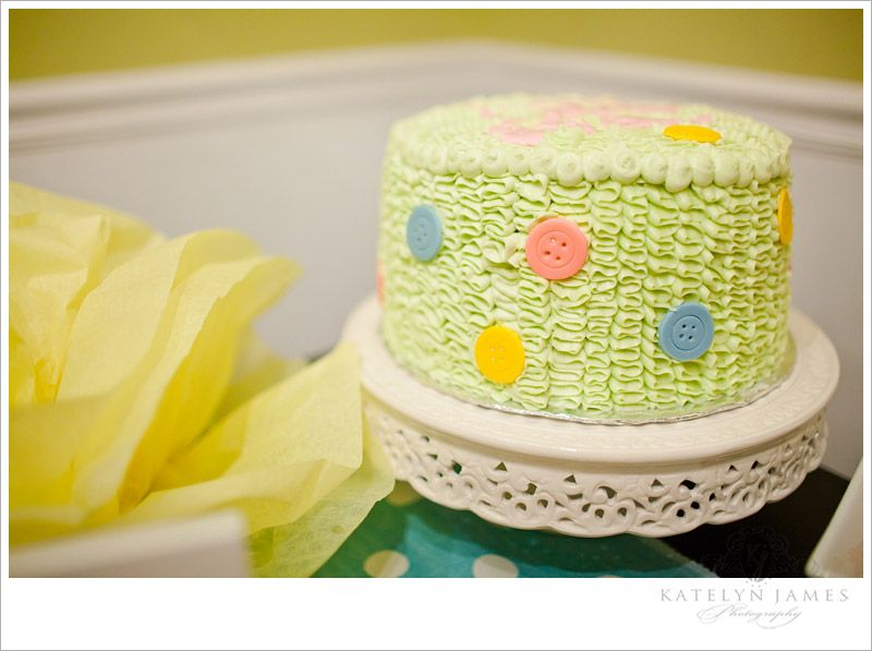 Cute as a button. Baby shower cake