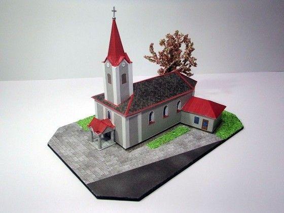 Church in Chromeč Free Building Paper Model Download