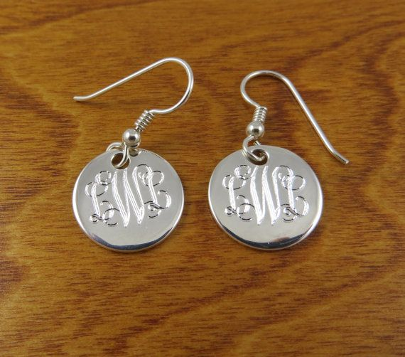 Monogram Earrings Sterling Silver Monogrammed Personalized Engraved Bridesmaids Gift On Etsy