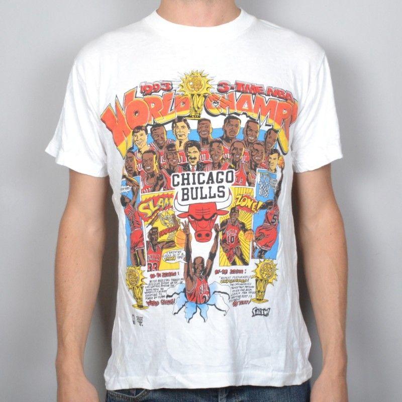 Vintage  93 Chicago Bulls 90s michael jordan NBA champions medium t-shirt 3b4915852