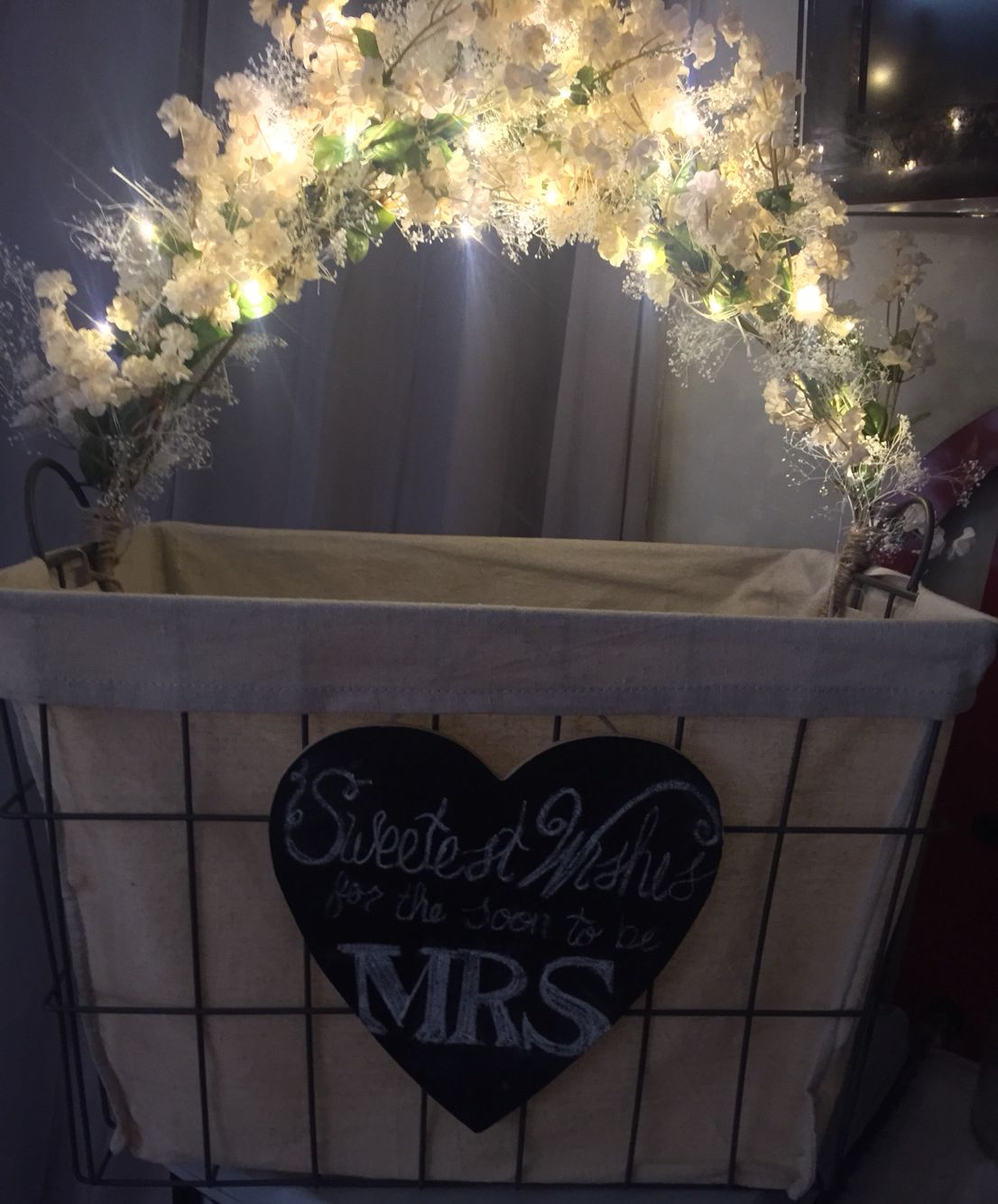diy wishing well for bridal shower david tutera battery operated lights heart says sweetest wishes for the soon to be mrs bought a medium size basket at