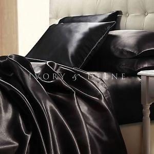 Luxury Midnight Black Silk Satin King Size Bed Sheet Set New Hotel Bedding Linen Satin Bedding Satin Sheets Bed Linens Luxury