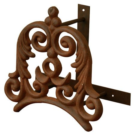 Distressed Metal Garden Hose Holder With Scrollwork Detail. Product: Garden  Hose HolderConstruction Material: