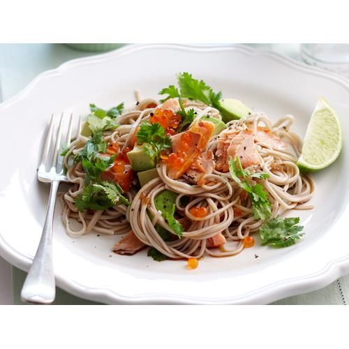 Hot smoked salmon soba noodles recipe - By Woman's Day, Whip up this glorious hot smoked salmon and soba noodles salad in no time at all.