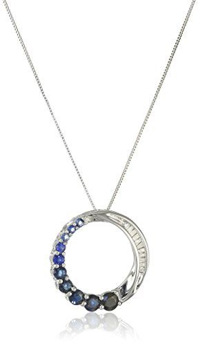 10k white gold blue sapphire and diamond accent journey circle pendant aloadofball Image collections