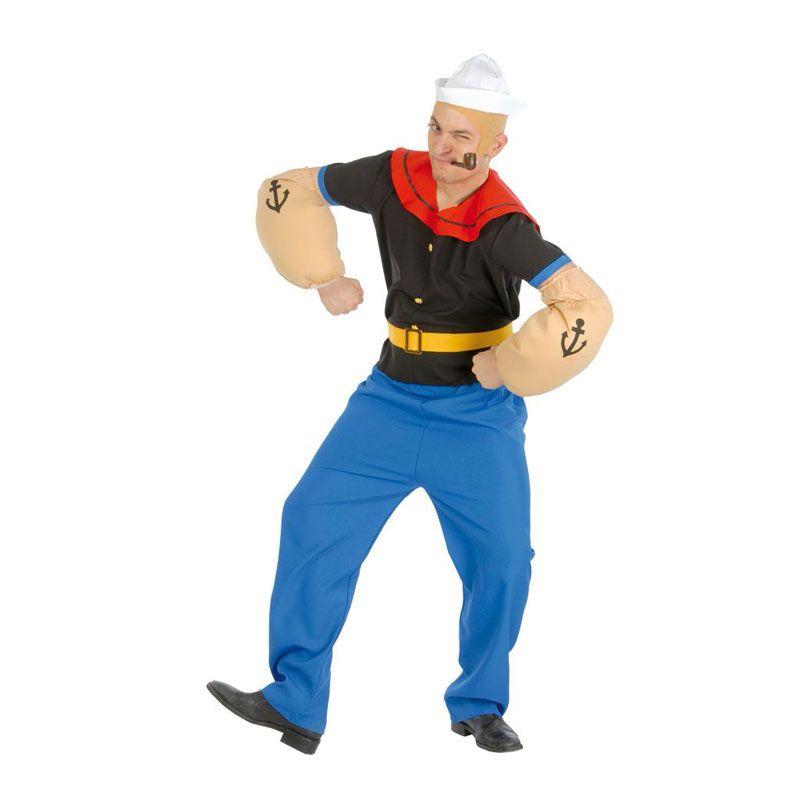 Completo y original disfraz de marinero Popeye en adulto compuesto por gorro e8888e6cf22