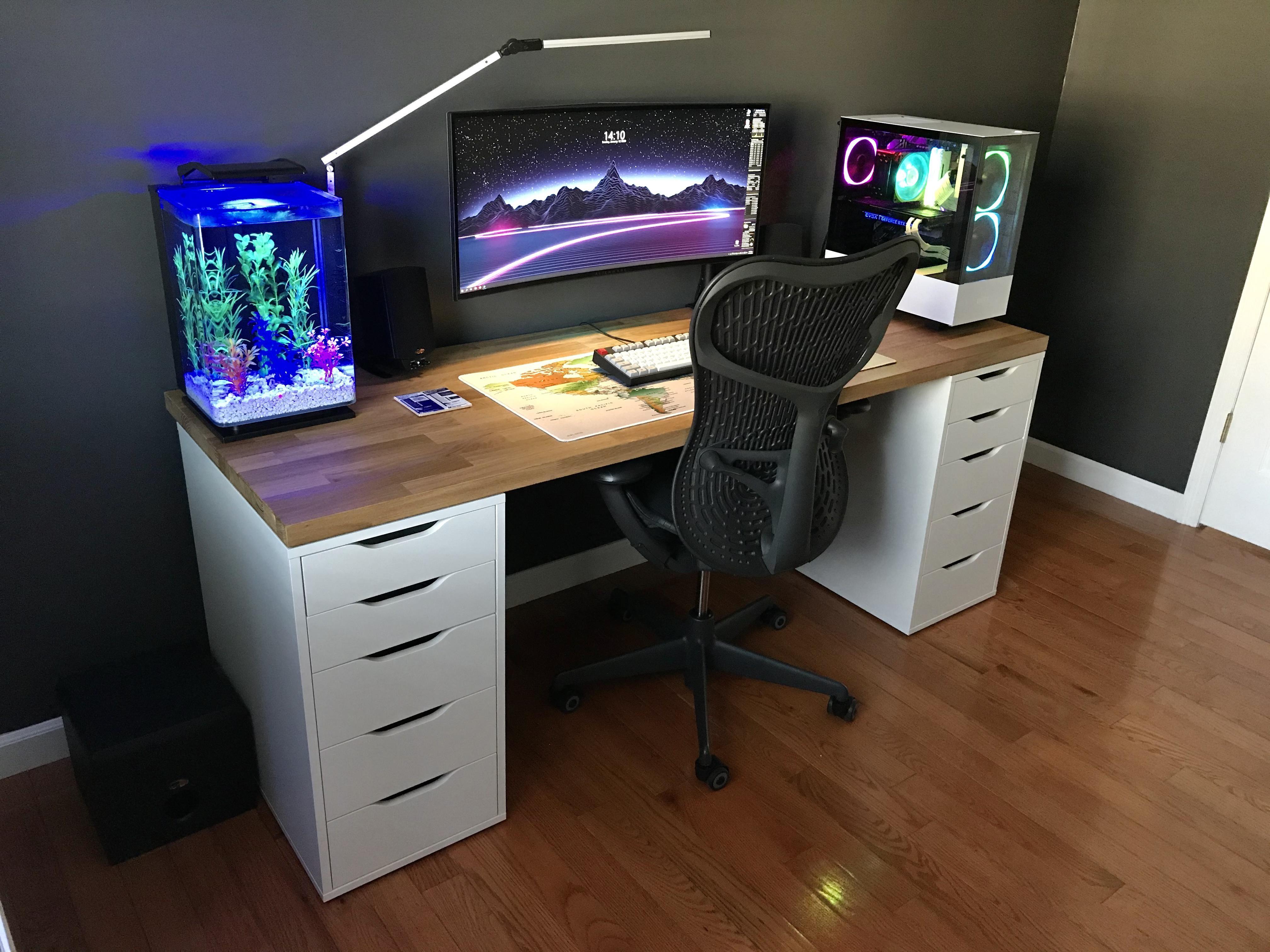 First Build Ikea Reddit Special Green Plants Rgb In 2020 Battlestation Ikea Cool Desktop