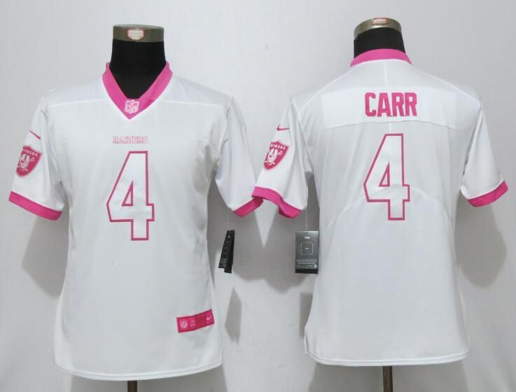Women 2017 Oakland Raiders 4 Carr Matthews White Pink Stitched New  for cheap