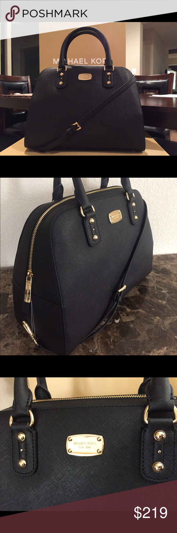 "ELEGANT Michael Kors Black Satchel You will like be this Michael Kors Satchel. Perfect for day, evening, office and travel. Gorgeous handbag, matches with every style. 13.4""L x 10""H x 6"" W KORS Michael Kors Bags Satchels"