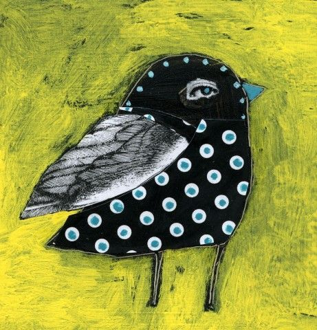 Black bird on yellow