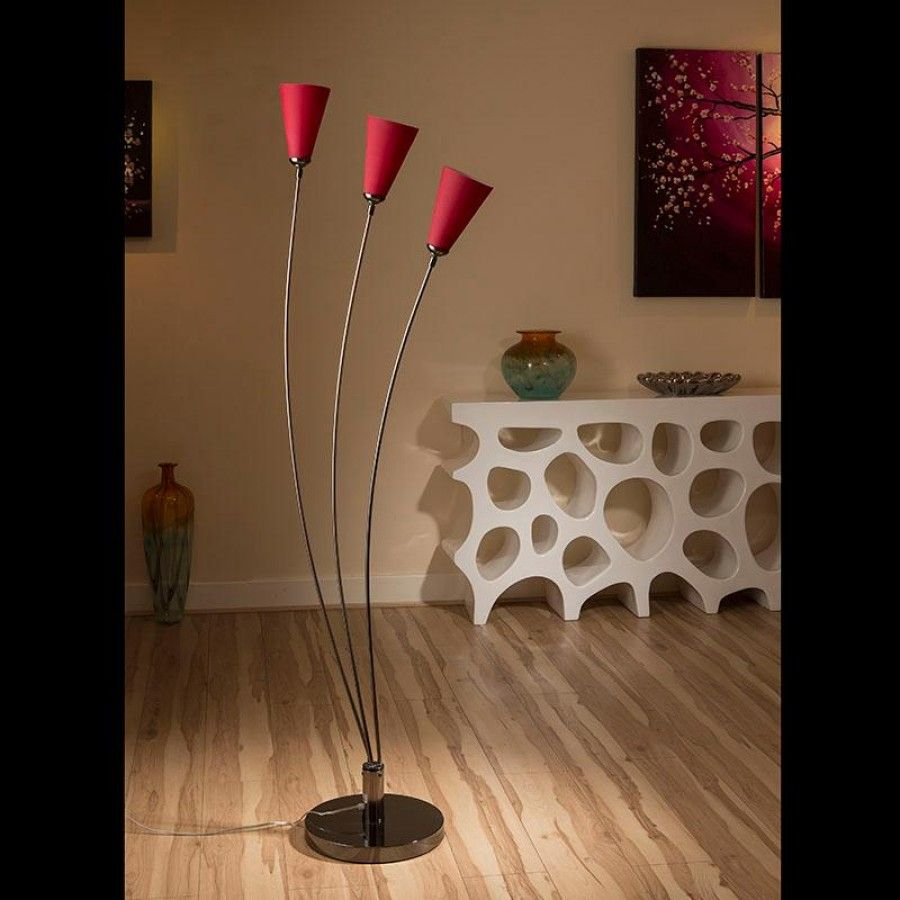 Stunning tulip standard floor light with red glass conical shades.  A truly stunning item with 3 beautiful glass shades and heavy nickel chrome base.  Made by Europe's top lighting manufacturer, please do not confuse with cheap Asian copies.  Please note that when turned on the shades glow with a lovely warm bright red.