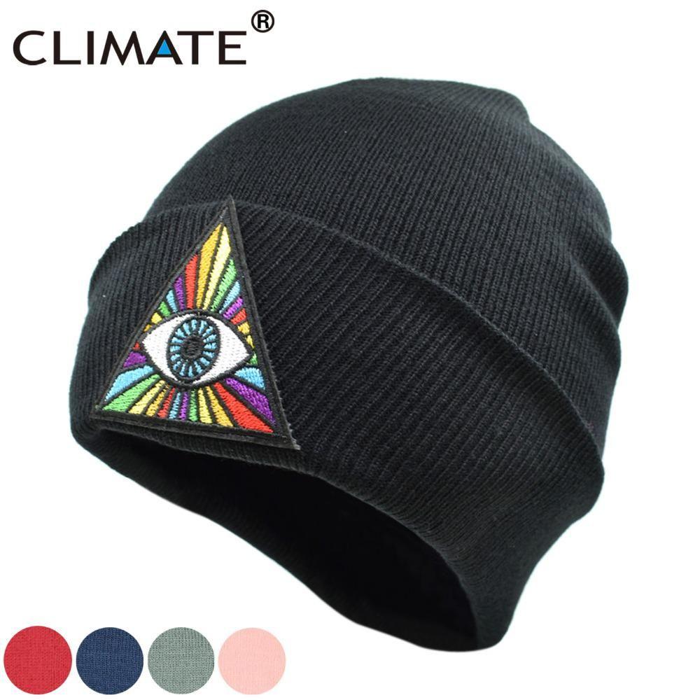 d76dce3ecfc CLIMATE Men Women Winter Warm Beanie Hats Gravity Falls Bill Dipper Rainbow  Eyes Black Soft Beanie Warm Knitted Caps Hat For Men.