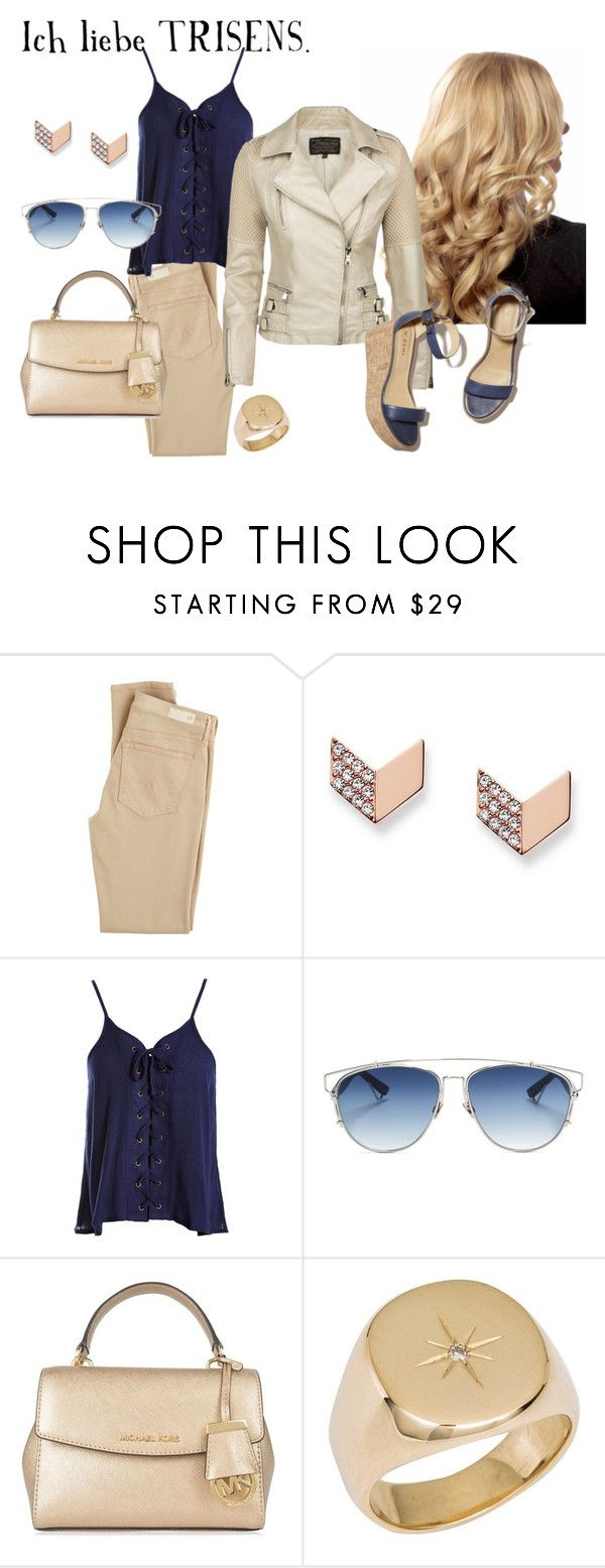 """""""Casual City Look"""" by trisens on Polyvore featuring Mode, AG Adriano Goldschmied, FOSSIL, Sans Souci, Christian Dior, MICHAEL Michael Kors, M. Gemi und Diamond Star"""