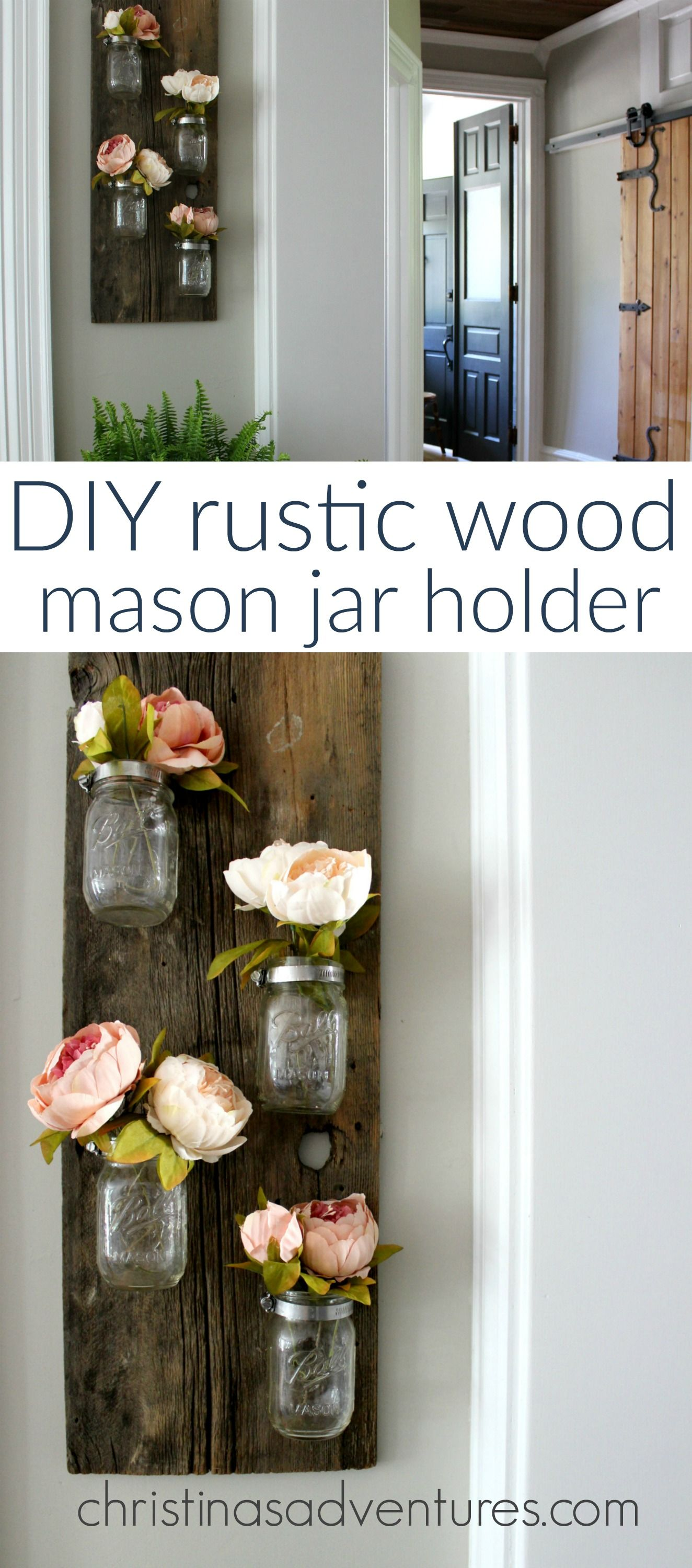 DIY wood mason jar holder | Mason jar holder, Rustic wood and Jar