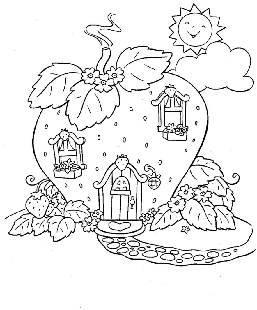 picture about Strawberry Shortcake Printable Coloring Pages titled Strawberry Shortcake dwelling coloring website page Ausmalbilder