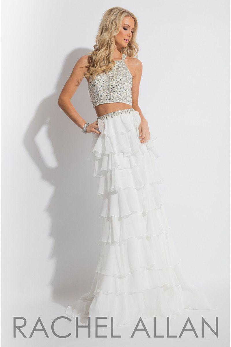Rachel allan white halter prom dress products pinterest