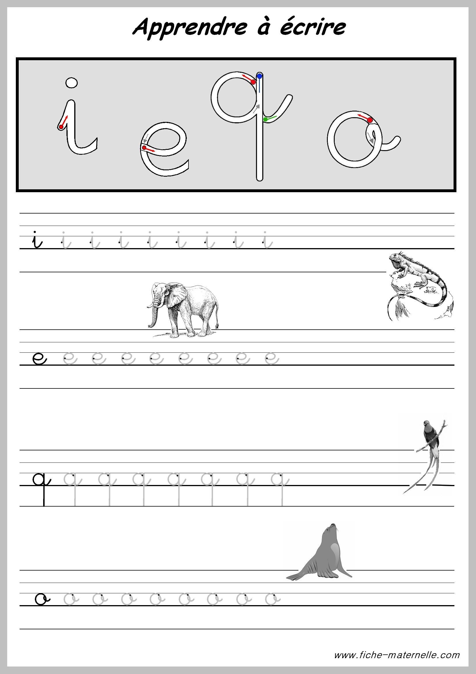 Exercices pour apprendre a ecrire enseignement - Alphabet francais maternelle ...