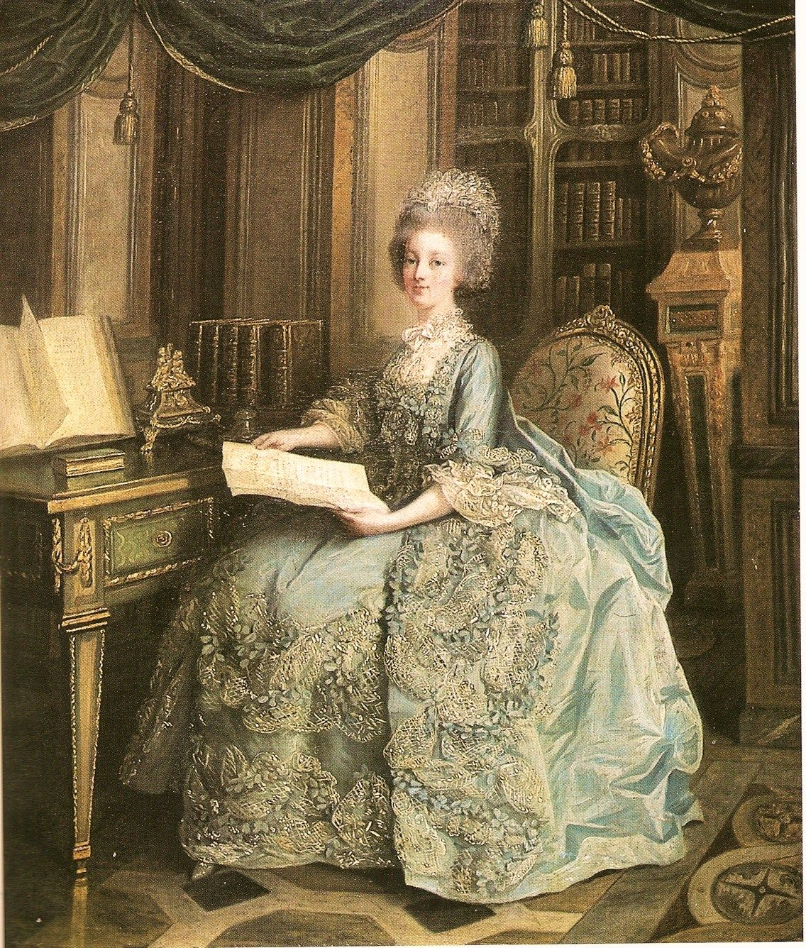 1776 Madame Sophie resting in her library by Louis Lie Perrin-Salbreux