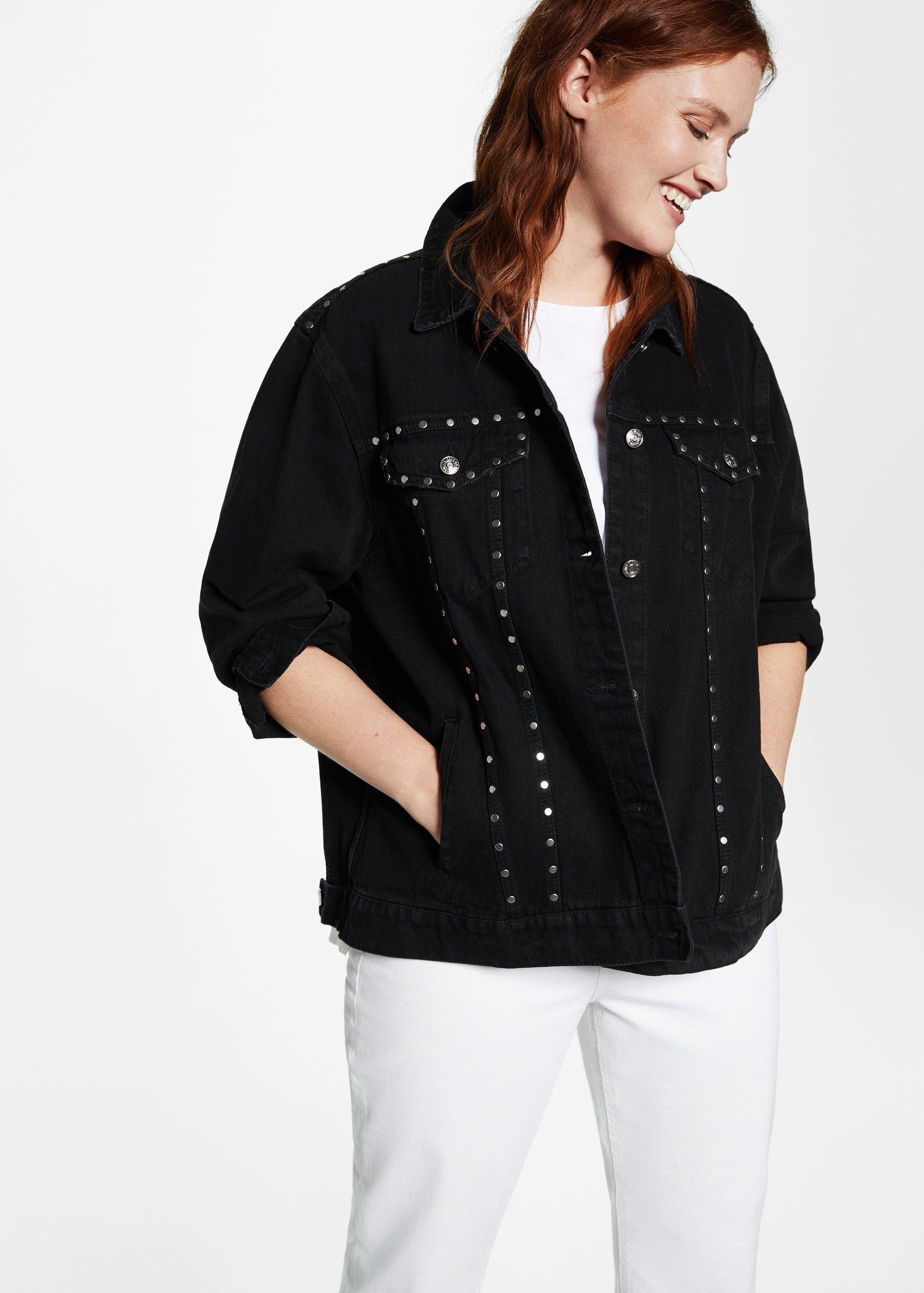 acf6285cce Mango Studded Denim Jacket - Plus Sizes | Violeta By XS | Products ...